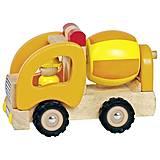 Машинка деревянная goki Бетономешалка желтая, 55926G, купить