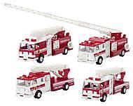 Машинка металлическая goki «Пожарная машина» с бочкой и лестницей, 12115G-3, фото
