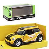 """Машинка """"Mini Cooper"""" из серии """"Автопром"""" желтый, 3216, отзывы"""