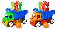 Машинка с кеглями зайцы + 1 шар (синий), 089, отзывы