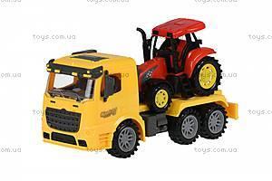Машинка инерционная Same Toy Truck «Тягач» желтый с трактором, 98-613Ut-1