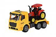 Машинка инерционная Same Toy Truck «Тягач» желтый с трактором, 98-613Ut-1, купить