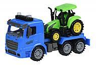 Машинка инерционная Same Toy Truck «Тягач» синий с трактором, 98-613AUt-2, купить