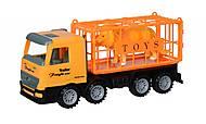 Машинка инерционная Super Combination «Грузовик» желтый для перевозки животных, 98-83Ut, фото
