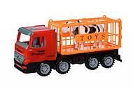 Машинка инерционная Super Combination «Грузовик» красный для перевозки животных, 98-82Ut, фото