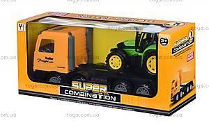 Машинка инерционная Super Combination «Тягач» желтый с трактором, 98-84Ut-2, купить