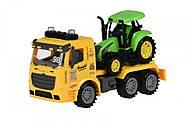 Машинка инерционная Truck «Тягач» желтый с трактором со светом и звуком, 98-615AUt-1