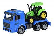 Машинка инерционная Truck «Тягач» синий с трактором, 98-613Ut-2