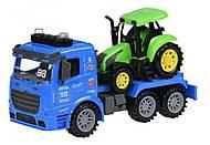 Машинка инерционная Truck «Тягач» синий с трактором со светом и звуком, 98-615AUt-2