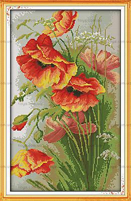 Мечтательные маки, вышивка картины крестиком, H325