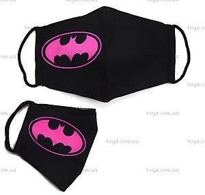 "Многоразовая 4-х слойная защитная маска ""Бэтмен"" размер 3, 7-14 лет, черно-розовая (mask2NEW), mask2NEW"