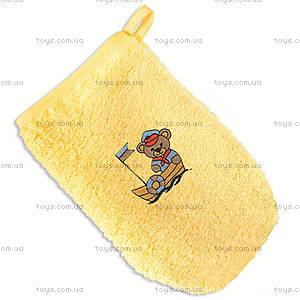 Мочалка с вишивкой, желтая, 0162-4