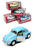Металлическая инерционная машинка Volkswagen Classical Beetle, KT5375WY, фото