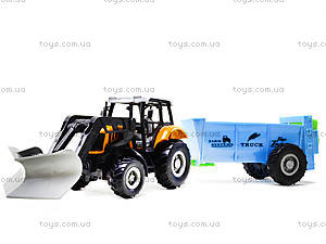 Металлическая модель трактора с прицепом, M6398-1, детские игрушки