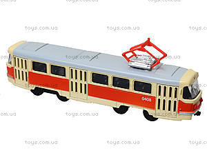 Металлическая модель трамвая «Автопром», 6411ABCD, игрушки