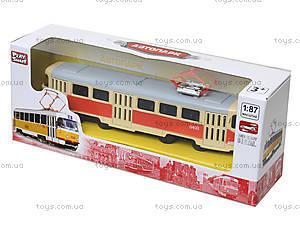 Металлическая модель трамвая «Автопром», 6411ABCD, магазин игрушек