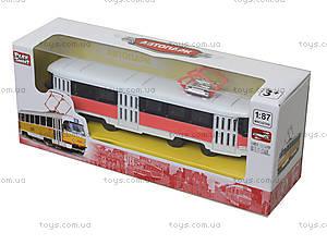 Металлическая модель трамвая «Автопарк», с подсветкой, 6411D, цена
