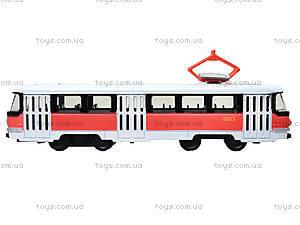 Металлическая модель трамвая «Автопарк», с подсветкой, 6411D, игрушки