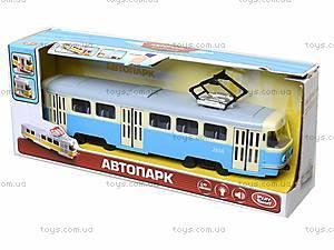 Игрушечный трамвай PLAY SMART с инерционными дверями, 9708C, фото