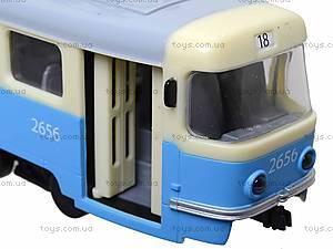 Игрушечный трамвай PLAY SMART с инерционными дверями, 9708C, игрушки
