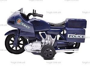 Мотоцикл инерционный SWAT, 999-065E, детские игрушки