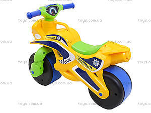 Мотоцикл-каталка для детей «Полиция», желтый, 013953, купить