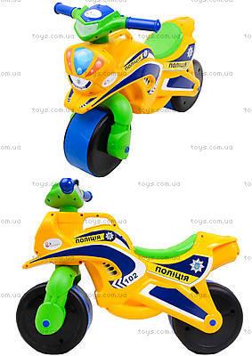 Мотоцикл-каталка для детей «Полиция», желтый, 013953