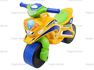 Мотоцикл-каталка для детей «Полиция», желтый, 013953, цена