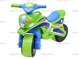Полицейский мотоцикл-каталка, зеленый, 013952, фото