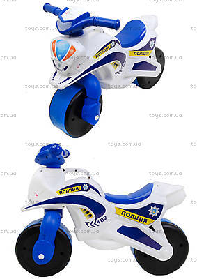 Мотоцикл-каталка «Полиция», белый, 013951