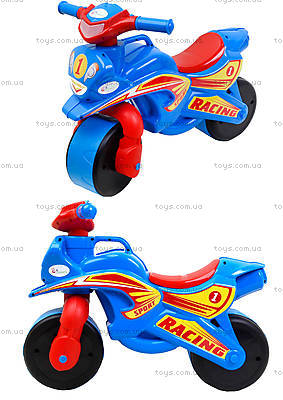 Детский мотоцикл-каталка «Спортивный байк», синий, 01394