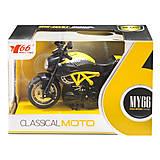 Мотоцикл металлопластиковый желтый, M66M-1216, купить