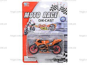 Мотоцикл металлический Moto Race, XY027, toys