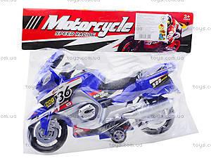 Инерционный спортивный мотоцикл для детей, 6698, фото