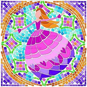 Мозаичный витраж «Девочки», 00-04565, купить