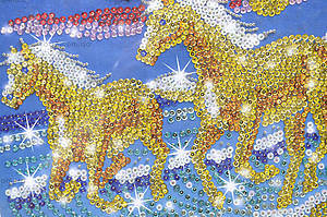 Мозаика блестящими стикерами «Лошади», 1026-KSG, фото