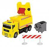 Мусоровоз желтый с контейнером и ограждением, 334 3000-1
