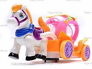 Музыкальная карета, с лошадкой, 6633, детские игрушки