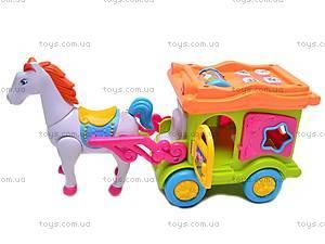 Музыкальная карета с лошадью, 00512, цена