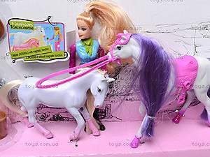 Музыкальная лошадка с куклой, 5566-3, игрушки