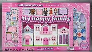 Музыкальный кукольный дом, со светом, 8124