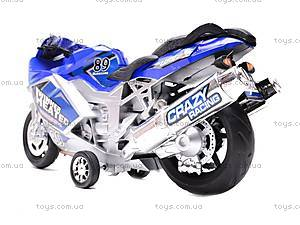 Музыкальный мотоцикл инерционный, 909-10909-12, игрушки