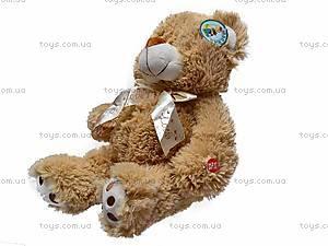 Музыкальный плюшевый медведь, с бантом, S-JY-4051/30, купить