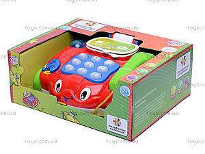 Музыкальный телефончик на колесах, 7068, игрушки