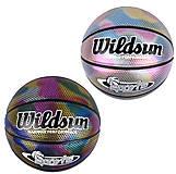 Мяч баскетбольный №7 радужный с голографическим покрытием PU 2 цвета, C44463, купити