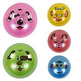 """Мяч резиновый """"Мордочки"""" перламутровый, 23 см 5 видов, C40270, опт"""