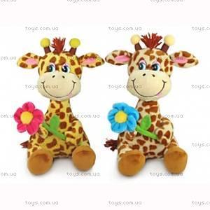 Мягкая игрушка жираф с цветком , LA8614