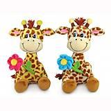 Мягкая игрушка жираф с цветком , LA8614, фото