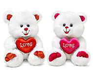 Мягкая игрушка «Медведь белый с сердечком», LF284C, фото