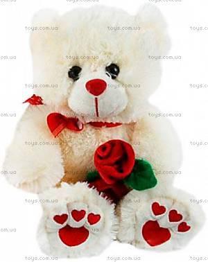 Мягкий медведь с розой белый, 026442-1